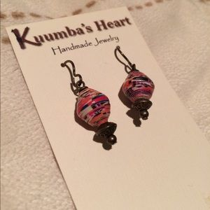 Handmade wrapped paper earrings